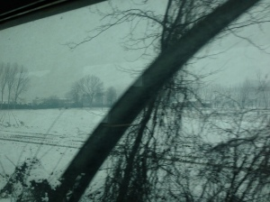 Snow on the way to Urbino from Milan