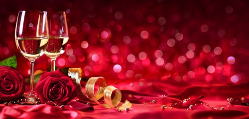 Romantic Celebration Of Valentine's Day - With Wine And Roses