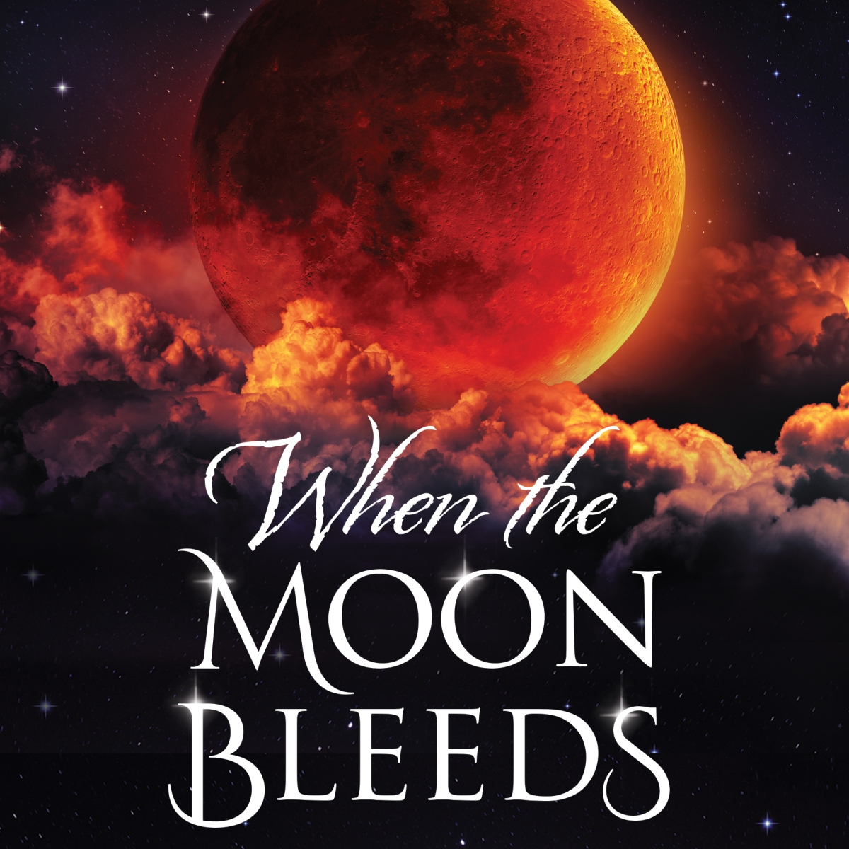 When The Moon Bleeds Book Cover featuring a full harvest moon